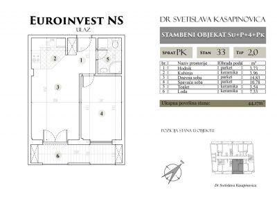 Stan 33 – 44.17m2 – cena 1.400,00-EURA/m2 sa uračunatim PDV-om