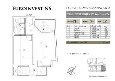 Stan 34 – 40.34m2 – cena 1.400,00-EURA/m2 sa uračunatim PDV-om