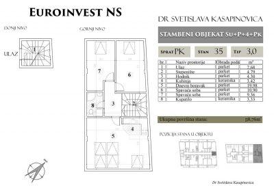 Stan 35 – 58.76m2 – cena 1.300,00-EURA/m2 sa uračunatim PDV-om