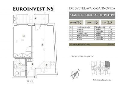 Stan 36 – 37.64m2 – cena 1.450,00-EURA/m2 sa uračunatim PDV-om