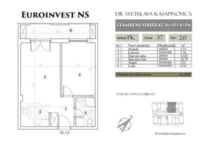 Stan 37 – 43.58m2 – cena 1.400,00-EURA/m2 sa uračunatim PDV-om