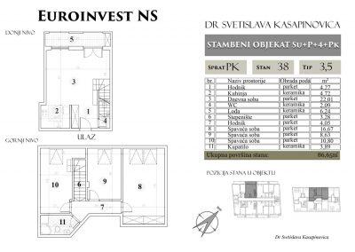Stan 38 – 86.65m2 – cena 1.100,00-EURA/m2 sa uračunatim PDV-om