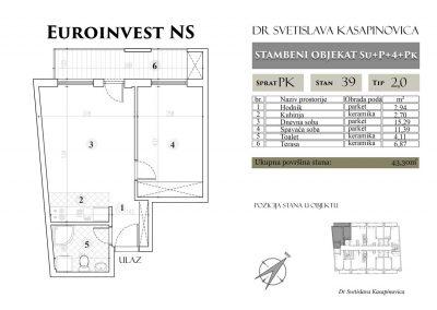 Stan 39 – 43.30m2 – cena 1.400,00-EURA/m2 sa uračunatim PDV-om