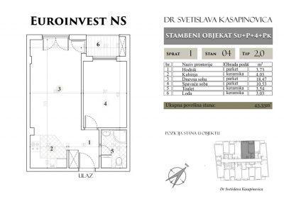 Stan 04 – 43.33m2 – cena 1.400,00-EURA/m2 sa uračunatim PDV-om
