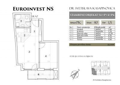 Stan 40 – 35.22m2 – cena 1.450,00-EURA/m2 sa uračunatim PDV-om