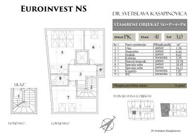 Stan 41 – 71.50m2 – cena 1.100,00-EURA/m2 sa uračunatim PDV-om