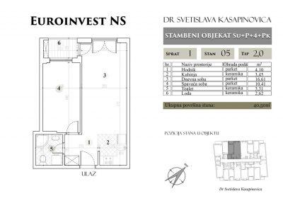 Stan 05 – 40.50m2 – cena 1.400,00-EURA/m2 sa uračunatim PDV-om