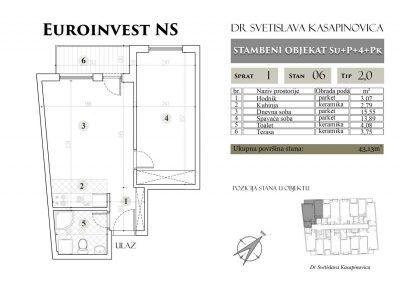Stan 06 – 43.13m2 – cena 1.400,00-EURA/m2 sa uračunatim PDV-om