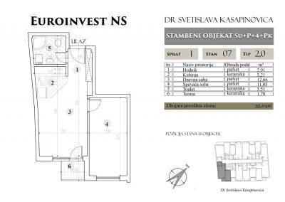 Stan 07 – 35.04m2 – cena 1.450,00-EURA/m2 sa uračunatim PDV-om