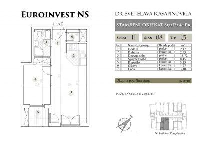 Stan 08 – 37.27m2 – cena 1.450,00-EURA/m2 sa uračunatim PDV-om