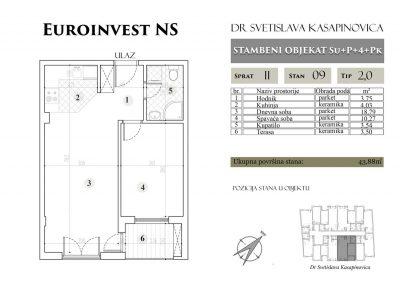 Stan 09 – 43.88m2 – cena 1.400,00-EURA/m2 sa uračunatim PDV-om