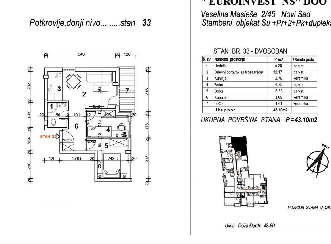 Stan 33 – dvosoban 43,10m2 – cena 1.750,00-EURA/m2 sa uračunatim PDV-om