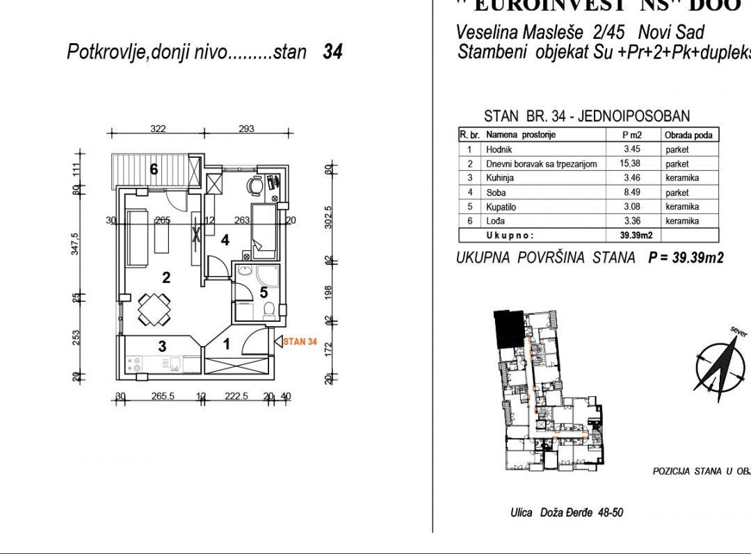 Stan 34 – jednoiposoban 39,39m2 – cena 1.850,00-EURA/m2 sa uračunatim PDV-om