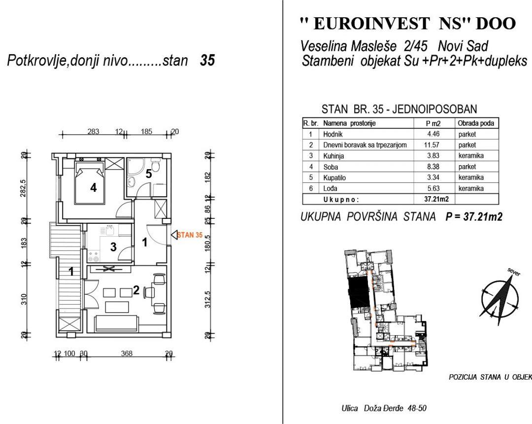 Stan 35 – jednoiposoban 37,21m2 – cena 1.850,00-EURA/m2 sa uračunatim PDV-om