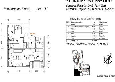 Stan 37 – dvoiposoban 57,60m2 – cena 1.700,00-EURA/m2 sa uračunatim PDV-om