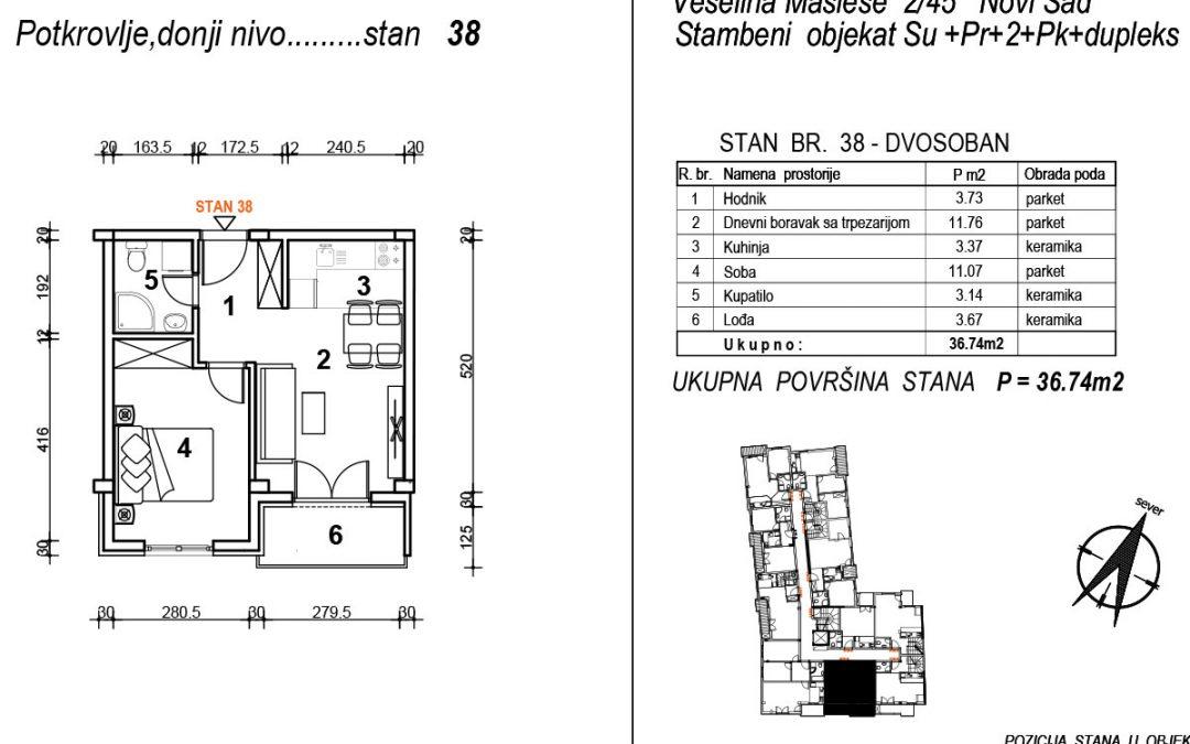Stan 38 – dvosoban 36,74m2 – cena 1.850,00-EURA/m2 sa uračunatim PDV-om