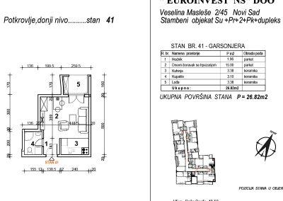 Stan 41 – garsonjera 26,82m2 – cena 1.950,00-EURA/m2 sa uračunatim PDV-om
