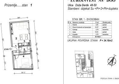 Stan 1 – dvosoban 34,18m2 – cena 1.700,00-EURA/m2 sa uračunatim PDV-om