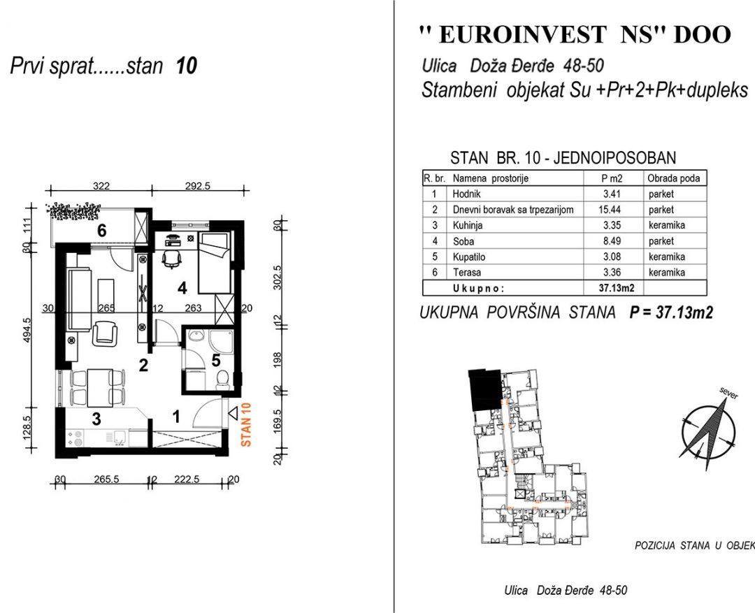 Stan 10 – jednoiposoban 37,13m2 – cena 2.000,00-EURA/m2 sa uračunatim PDV-om