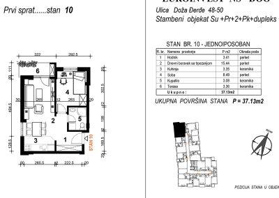 Stan 10 – jednoiposoban 37,13m2 – cena 1.850,00-EURA/m2 sa uračunatim PDV-om