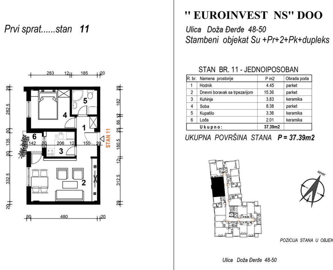 Stan 11 – jednoiposoban 37,39m2  – cena 1.850,00-EURA/m2 sa uračunatim PDV-om