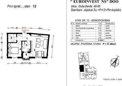 Stan 12 – jednoiposoban 37,48m2  – cena 1.850,00-EURA/m2 sa uračunatim PDV-om