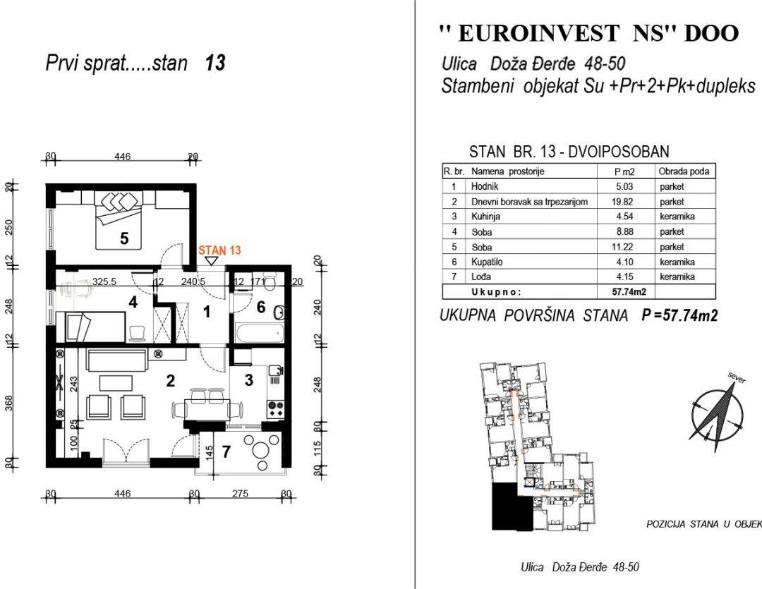 Stan 13 – dvoiposoban 57,74m2  – cena 1.700,00-EURA/m2 sa uračunatim PDV-om