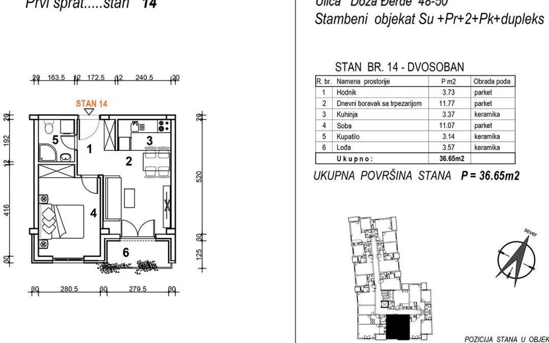 Stan 14 – dvosoban 36,65m2 – cena 1.850,00-EURA/m2 sa uračunatim PDV-om