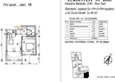 Stan 15 – dvosoban 37,23m2 – cena 1.850,00-EURA/m2 sa uračunatim PDV-om