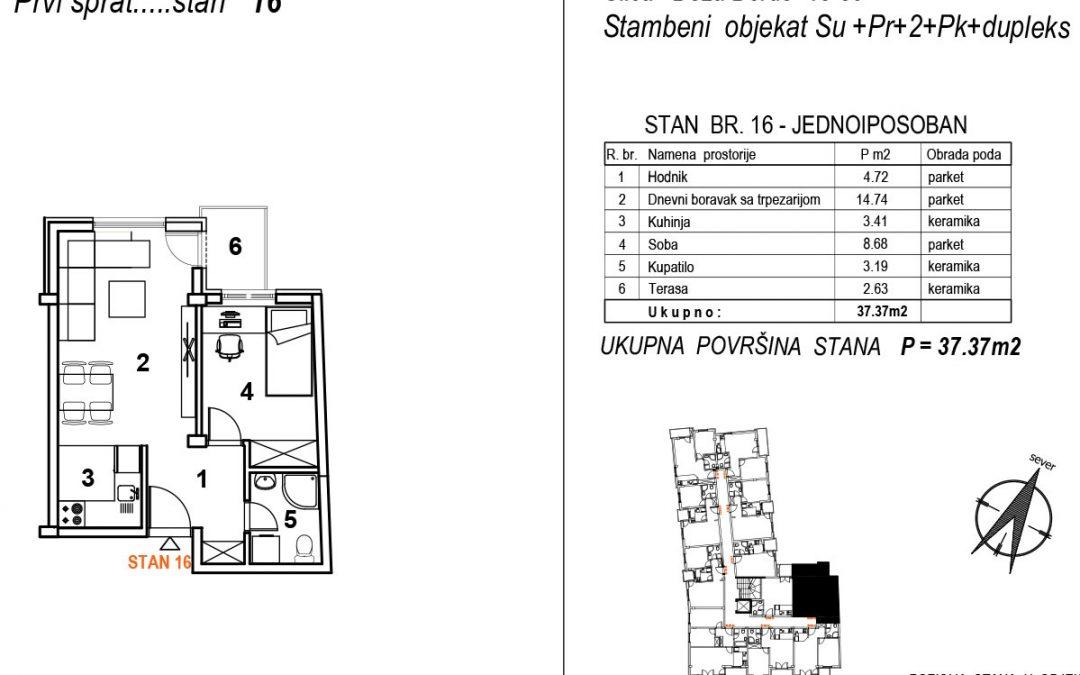 Stan 16 – jednoiposoban 37,37m2 – cena 1.850,00-EURA/m2 sa uračunatim PDV-om