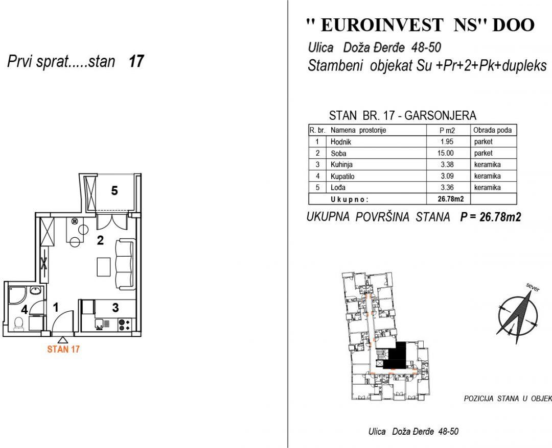 Stan 17 – garsonjera 26,78m2 – cena 1.950,00-EURA/m2 sa uračunatim PDV-om