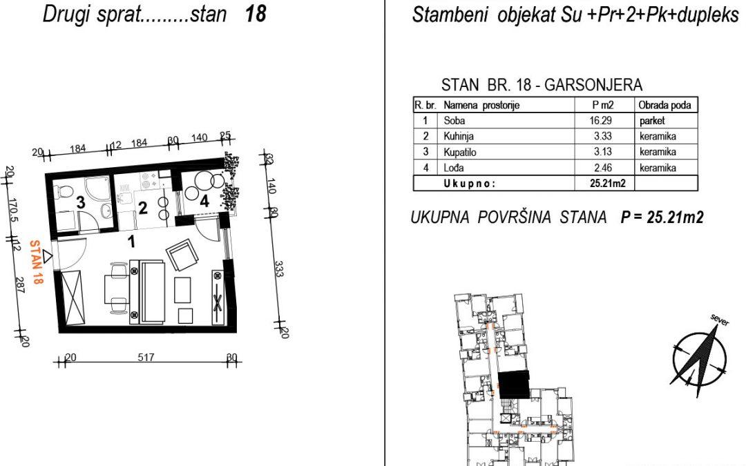 Stan 18 – garsonjera 25,21m2 – cena 1.950,00-EURA/m2 sa uračunatim PDV-om