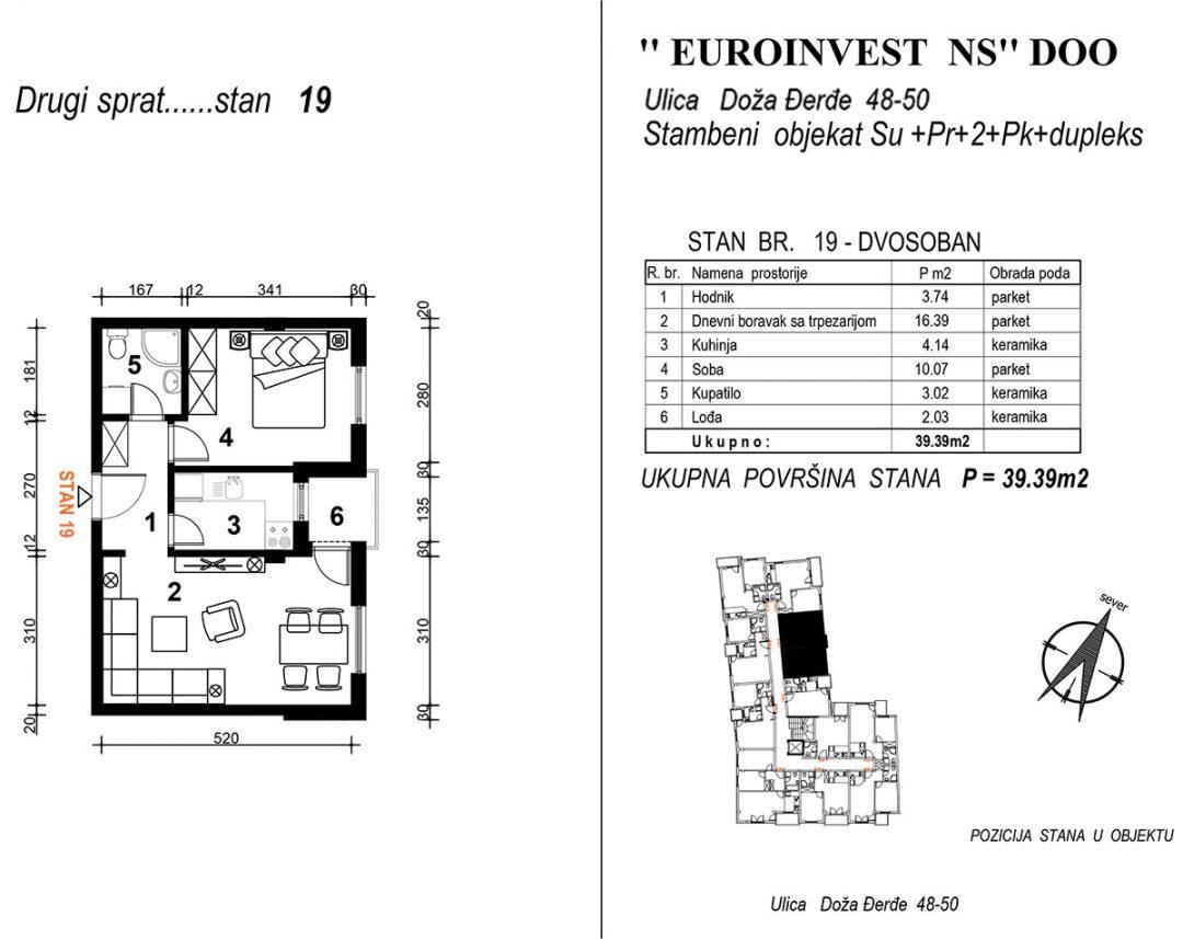 Stan 19 dvosoban – 39,39m2 – cena 1.850,00-EURA/m2 sa uračunatim PDV-om