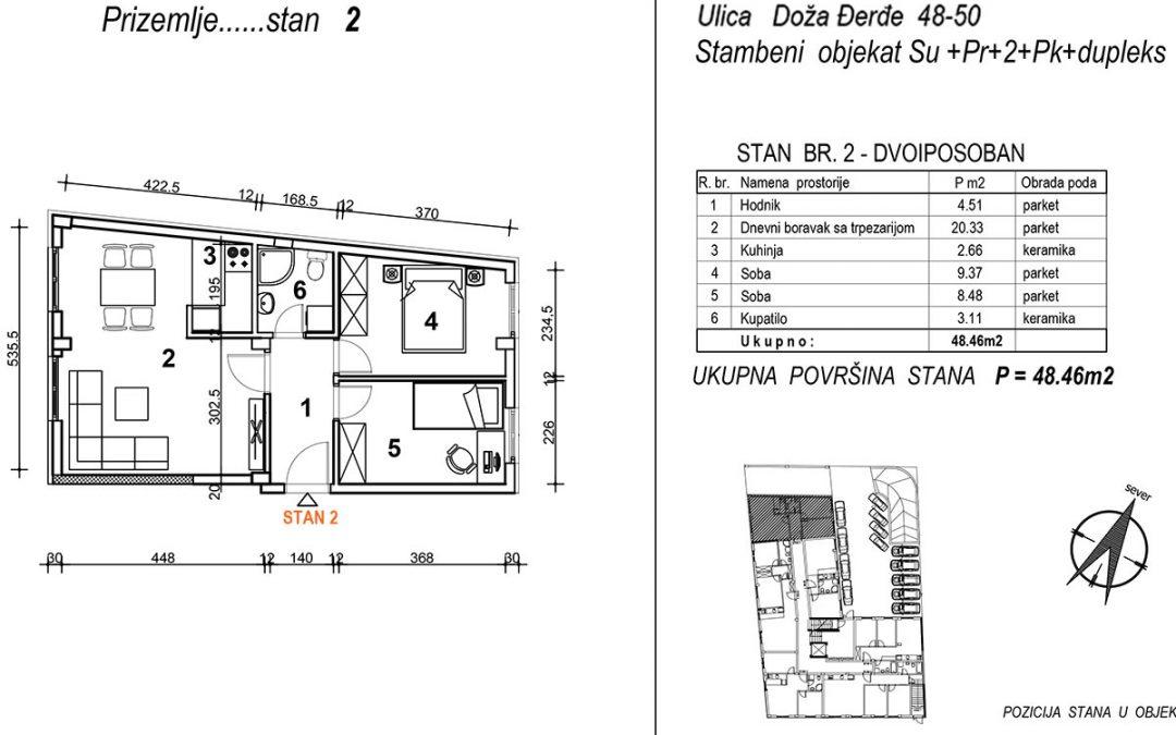 Stan 2 – dvoiposoban 48,46m2 – cena 1.650,00-EURA/m2 sa uračunatim PDV-om