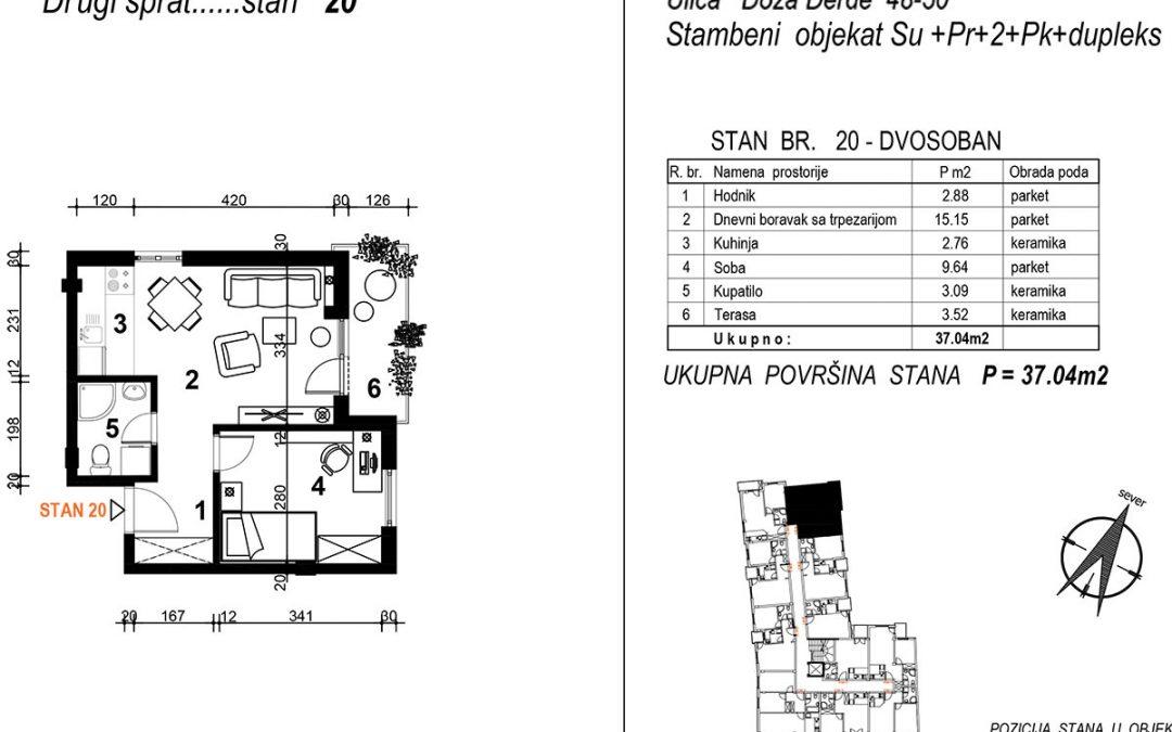 Stan 20 – dvosoban 37,04m2 – cena 1.850,00-EURA/m2 sa uračunatim PDV-om