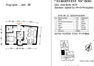 Stan 23 – jednoiposoban 37,48m2 – cena 1.850,00-EURA/m2 sa uračunatim PDV-om