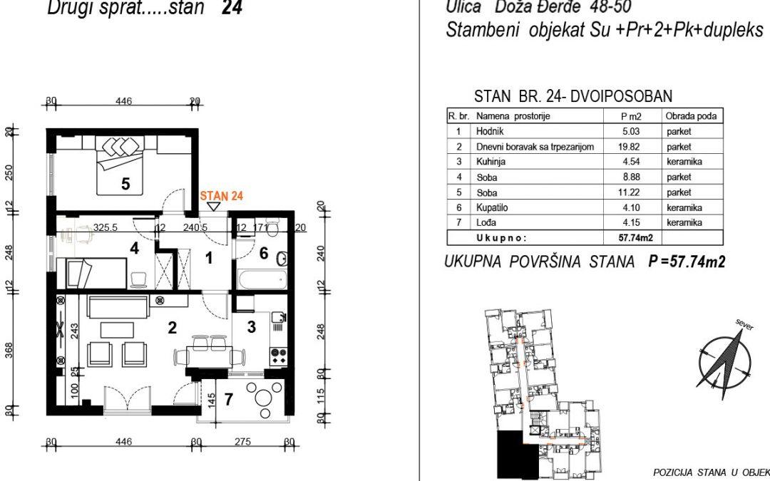 Stan 24 – dvoiposoban 57,74m2 – cena 1.700,00-EURA/m2 sa uračunatim PDV-om