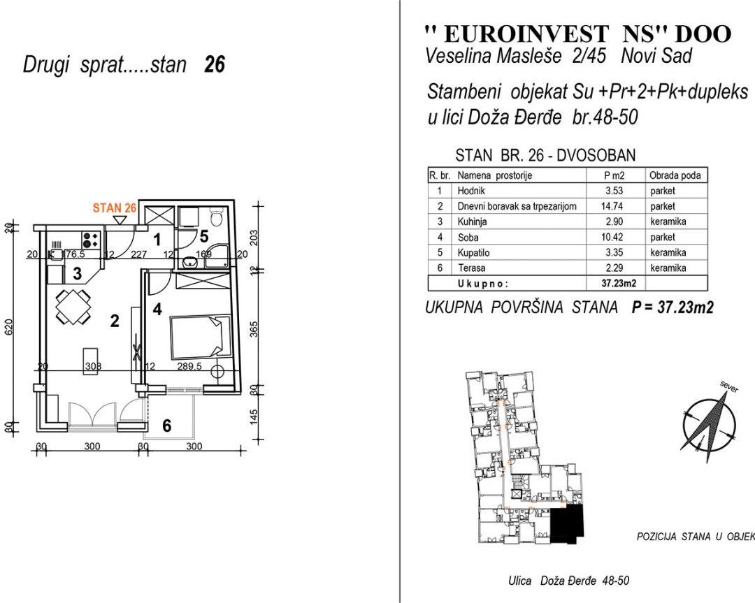 Stan 26 – dvosoban 37,23m2 – cena 2.000,00-EURA/m2 sa uračunatim PDV-om