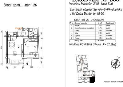Stan 26 – dupleks dvosoban 37,23m2 – cena 1.850,00-EURA/m2 sa uračunatim PDV-om