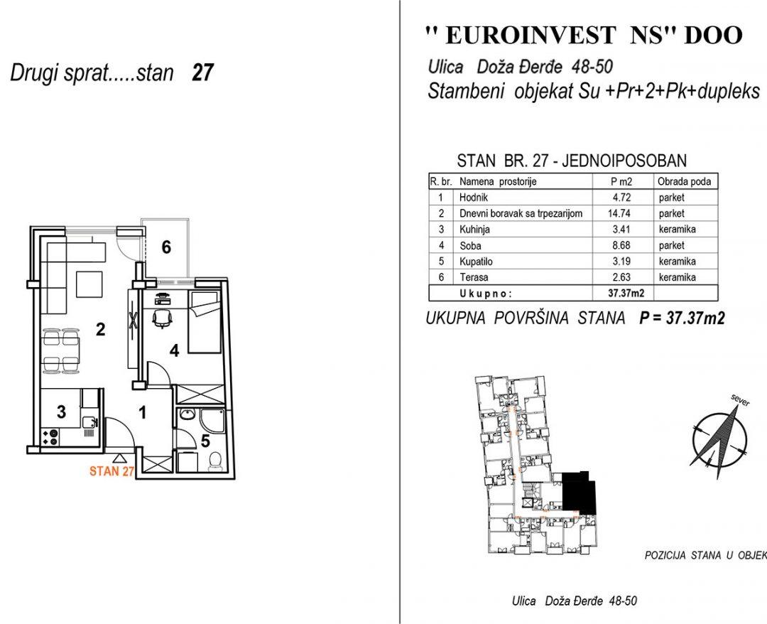 Stan 27 – jednoiposoban 37,37m2 – cena 1.850,00-EURA/m2 sa uračunatim PDV-om