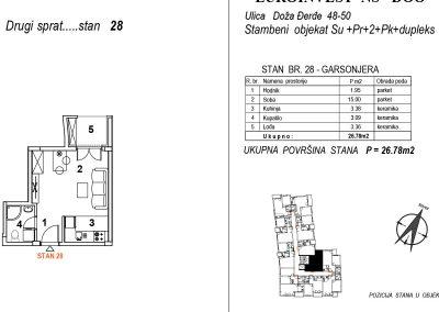 Stan 28 – garsonjera 26,78m2 – cena 1.950,00-EURA/m2 sa uračunatim PDV-om