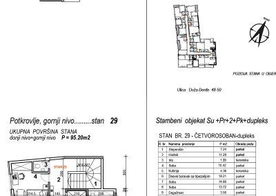 Stan 29 – četvorosoban 95,20m2 – cena 1.600,00-EURA/m2 sa uračunatim PDV-om