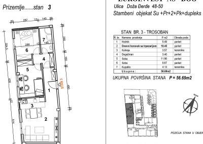 Stan 3 – trosoban 56,69m2 – cena 1.600,00-EURA/m2 sa uračunatim PDV-om