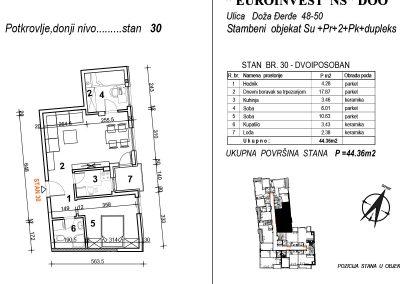Stan 30 – dvoiposoban 44,36m2 – cena 1.750,00-EURA/m2 sa uračunatim PDV-om