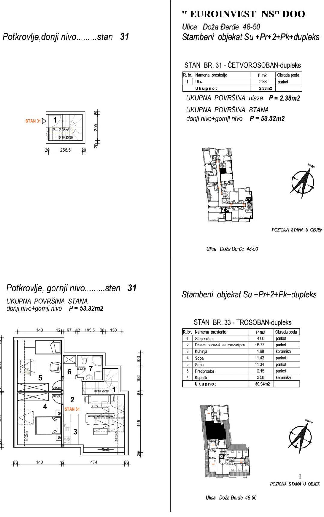 Stan 31 – trosoban 53,32m2 – cena 1.700,00-EURA/m2 sa uračunatim PDV-om