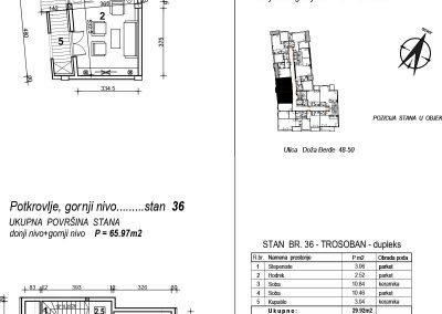 Stan 36 – trosoban 65,97m2 – cena 1.600,00-EURA/m2 sa uračunatim PDV-om