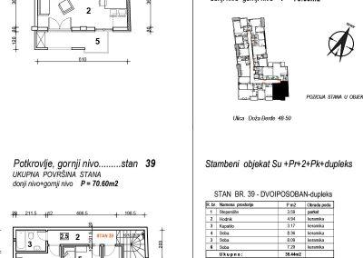 Stan 39 – dvoiposoban 70,60m2 – cena 1.600,00-EURA/m2 sa uračunatim PDV-om