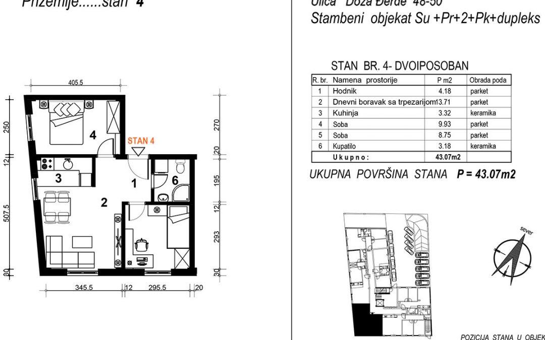 Stan 4 – dvoiposoban 43,07m2 – cena 1.650,00-EURA/m2 sa uračunatim PDV-om