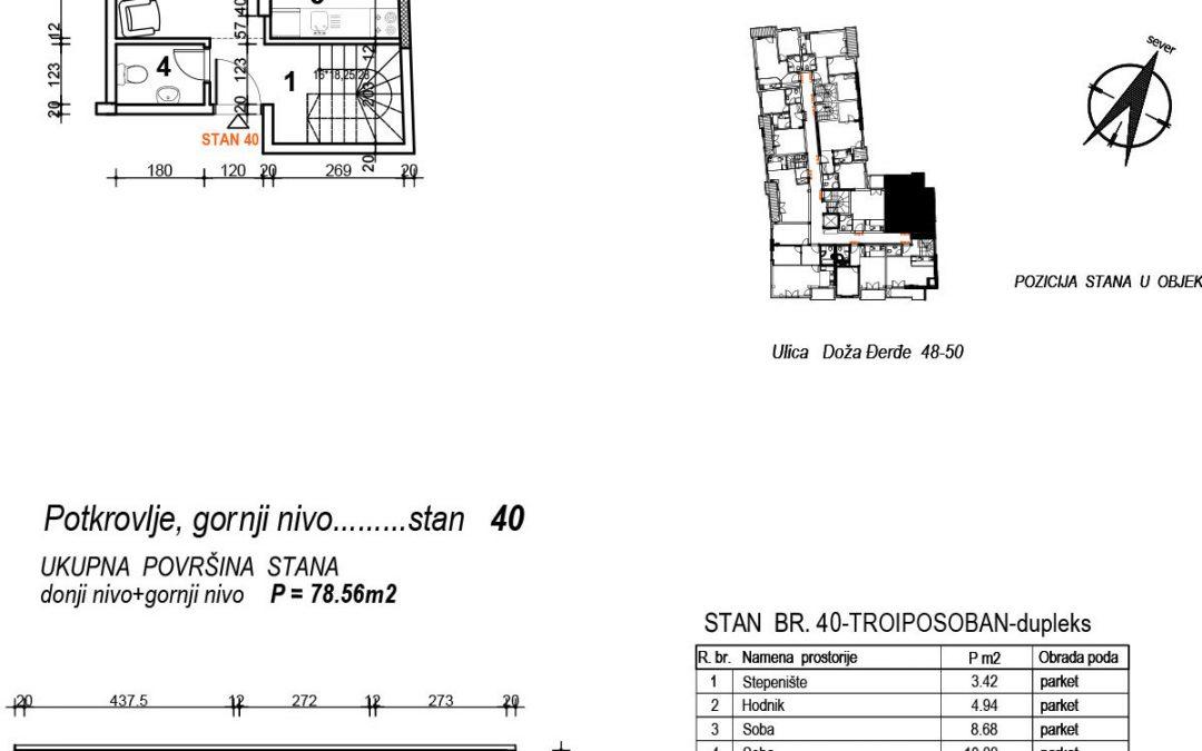Stan 40 – trosoban 78,56m2 – cena 1.600,00-EURA/m2 sa uračunatim PDV-om