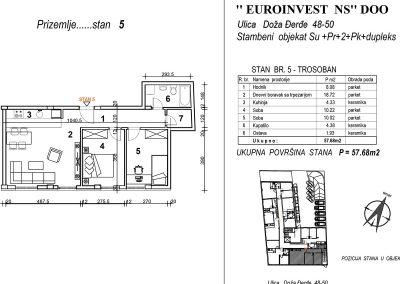 Stan 5 – trosoban 57,68m2 – cena 1.600,00-EURA/m2 sa uračunatim PDV-om